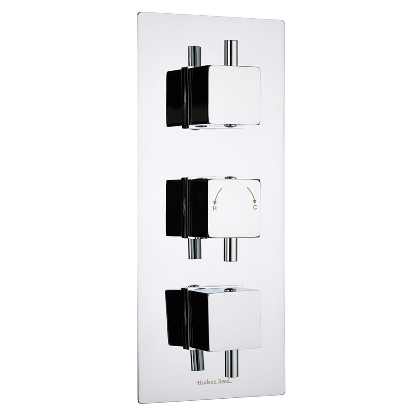 Square Concealed 2 Outlet Triple Thermostatic Shower Valve