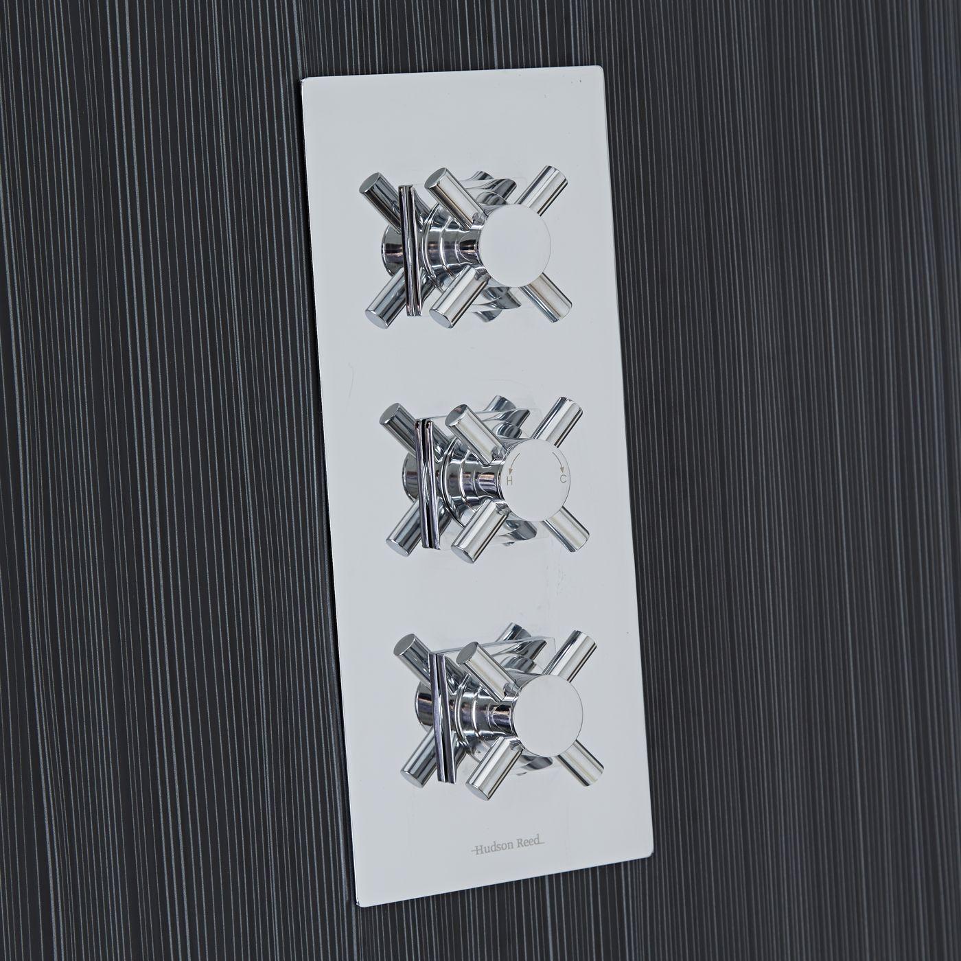 Kristal Concealed 2 Outlet Triple Thermostatic Shower Valve (Square Flange)