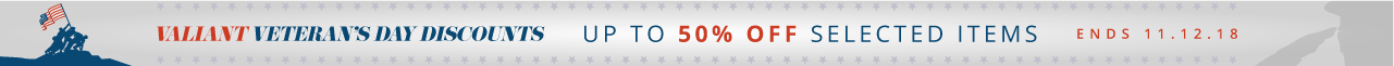 Valiant Veteran's Day Discounts Up to 50% off selected items Ends 11.12.18