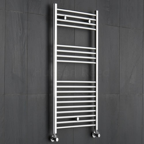 Vertical chrome hyrdronic towel warmer