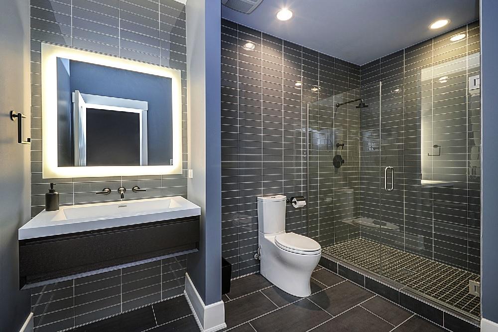 black tile walk-in shower
