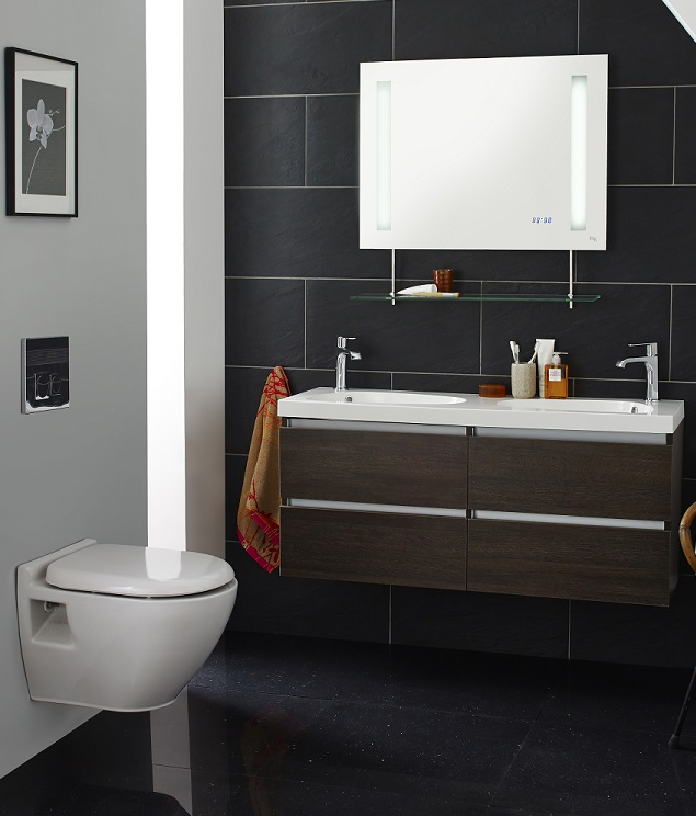 wall hung double bathroom vanity unit and mirror on modern black tiles