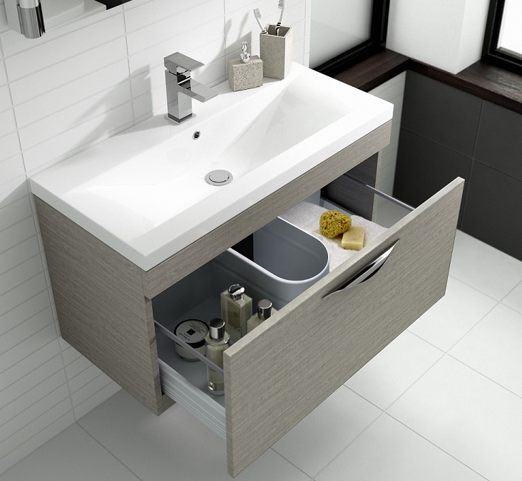 wall hung light oak bathroom vanity unit