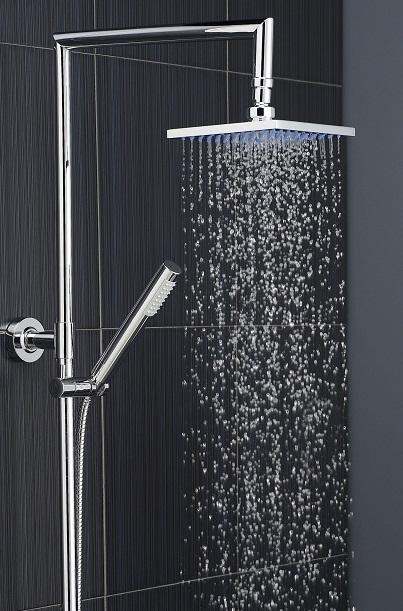 rainfall shower head and chrome hand shower